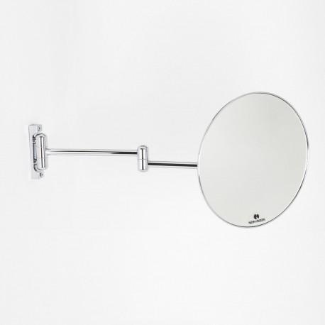 Specchio ingranditore x3  tondo monofacciale da muro cromoØ23. Con due braccia.