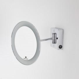 Specchio ingranditore x2 tondo da parete cromo Ø23.1 Braccio, Illuminazione a LED. Alimentazione diretta a parete