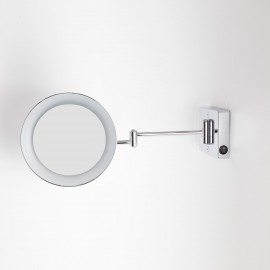 Specchio ingranditore x2 tondo da parete cromo Ø23.2 Braccia, Illuminazione a LED. Alimentazione diretta a parete