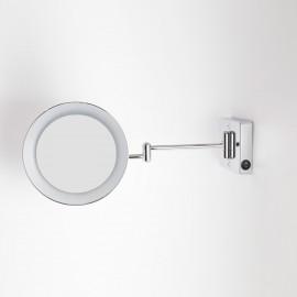 Specchio ingranditore x3 tondo da parete cromo Ø23.2 Braccia, Illuminazione a LED. Alimentazione diretta a parete