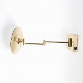 Specchio ingranditore x2 tondo da parete oro Ø23.2 Braccia, Illuminazione a LED. Alimentazione diretta a parete