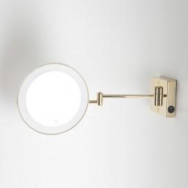 Specchio ingranditore x3 tondo da parete oro Ø23.2 Braccia, Illuminazione a LED. Alimentazione diretta a parete