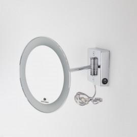 Specchio ingranditore x3 tondo da parete cromo Ø23.1 Braccio, Illuminazione a LED. Alimentazione esterna con spina.