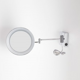 Specchio ingranditore x3 tondo da parete cromo Ø23.2 Braccia, Illuminazione a LED. Alimentazione esterna con spina.