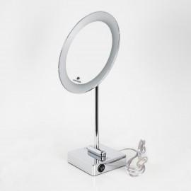Specchio ingranditore tondo da tavolo cromo Ø23. Illuminazione a LED.