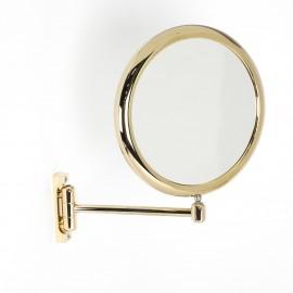 Specchio ingranditore x2 tondo bifacciale da muro oro Ø23. Con 1 braccio.