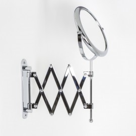 Specchio ingranditore x2 tondo bifacciale da muro cromo Ø18. Con braccio estensibile.