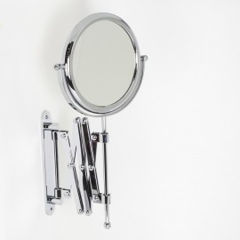 Specchio ingranditore x3 tondo bifacciale da muro cromo Ø18. Con braccio estensibile.