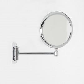 Specchio ingranditore x3 tondo bifacciale da muro cromo Ø18. Con un braccio.