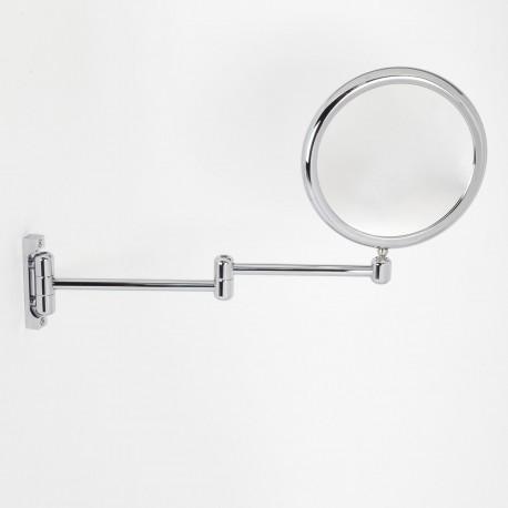 Specchio ingranditore tondo bifacciale da muro cromo ø18. Con due bracci.