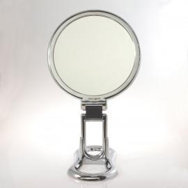 Specchio cromato bifacciale con ingrandimento, manico pieghevole e supporto da tavolo. ø18cm.