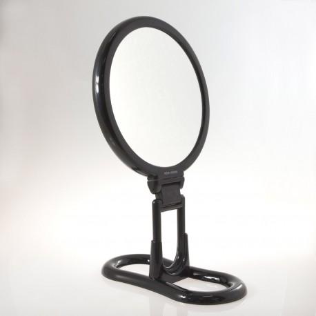 Specchio bifacciale con ingrandimento x 6, manico pieghevole e supporto da tavolo. Ø18cm.Colore nero