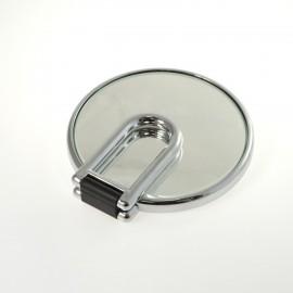 Specchio cromato bifacciale con ingrandimento, manico pieghevole.Ingrandimento x3 Ø14cm.