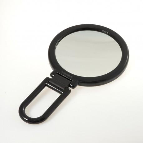Specchio bifacciale con ingrandimento, manico pieghevole.Ingrandimento x6 Ø14cm.Colore nero.