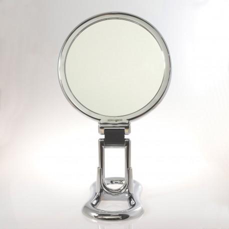 Specchio cromato bifacciale con ingrandimento x 2, manico pieghevole e supporto da tavolo. Ø18cm.