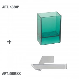 Bicchiere porta spazzolini da denti da muro Lem verde trasparente.