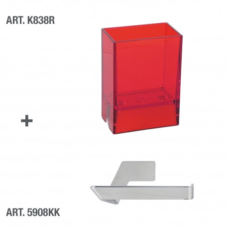 Bicchiere porta spazzolini da denti da muro Lem rosso trasparente.