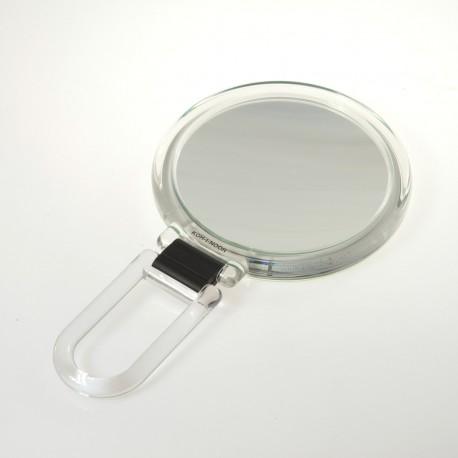 Specchio con cornice trasparente bifacciale con ingrandimento, manico pieghevole.Ingrandimento x3 Ø14cm.