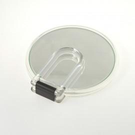 Specchio con cornice trasparente bifacciale con ingrandimento, manico pieghevole.Ingrandimento x6 Ø14cm.