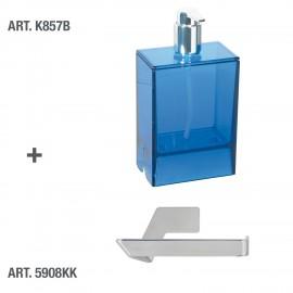 Dispenser sapone da muro Lem blu trasparente.
