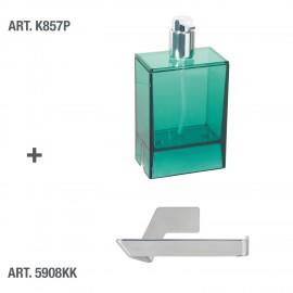 Dispenser sapone da muro Lem verde trasparente.