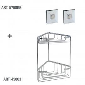 Kit supporto ad incollo cromo per cestini bagno.
