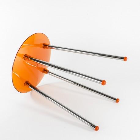 Sgabello Noni cromo/arancio trasparente.