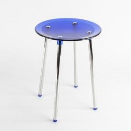 Sgabello Noni cromo/blu trasparente.