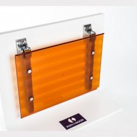 Sedile doccia ribaltabile Leo arancio trasparente.
