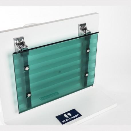 Sedile doccia ribaltabile Leo verde trasparente.
