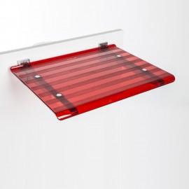 Sedile doccia ribaltabile Leo rosso trasparente.