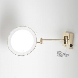 Specchio ingranditore x2 tondo da parete oro Ø23.2 Braccia, Illuminazione a LED. Alimentazione esterna con spina.