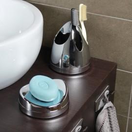 Bicchieri porta spazzolini da denti da appoggio cromo/blu trasparente Skatto.