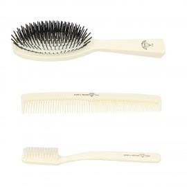 SET: Beauty grande in pelle nera con spazzola pettine e spazzolino avorio