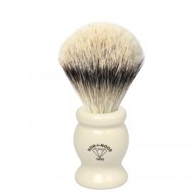 Pennello da barba in tasso argentato ø22,5 manico colore avorio