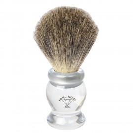 Pennello da barba in tasso grigio Ø22,5 trasparente.