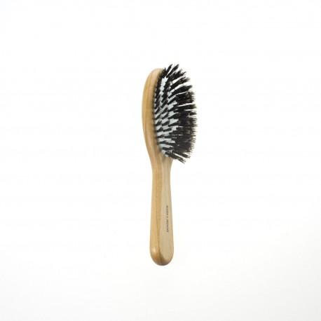 Spazzola pneumatica ovale piccola in legno con ciuffi di setola di cinghiale