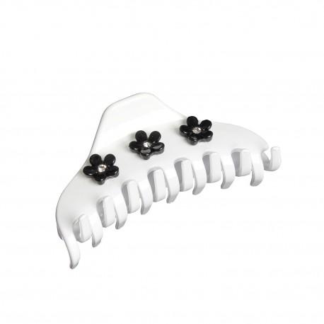 Pinza media bianca con fiori 7x3cm.