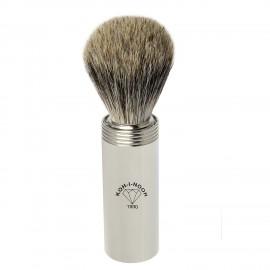 Pennello da barba da viaggio in ottone tasso grigio ø19 cromato.