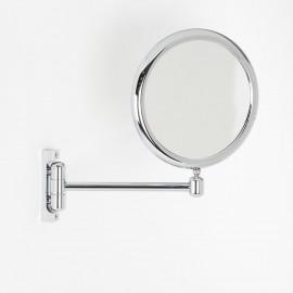 Specchio ingranditore x3  tondo bifacciale da muro cromo D.23. Con 1 braccio.