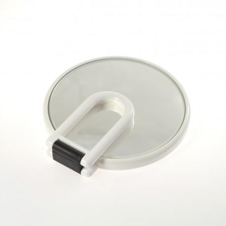 Specchio bifacciale con ingrandimento, manico pieghevole.Ingrandimento x3 Ø14cm.Colore bianco.