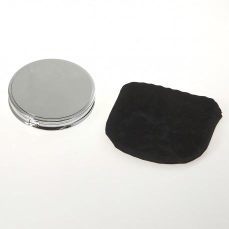 Specchio da borsetta cromato con ingrandimento. ø 8,5cm.