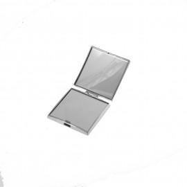 Specchio da borsetta cromato con ingrandimento. 7,7x7,7x h1,5cm.