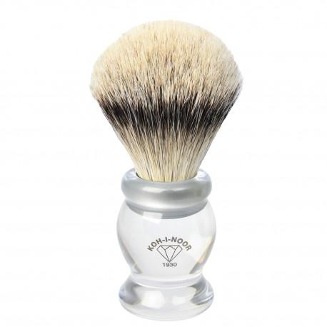 Pennello da barba in tasso argentato ø22,5 manico colore trasparente