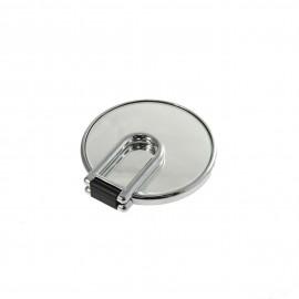 Specchio cromato bifacciale con ingrandimento, manico pieghevole.Ingrandimento x2 Ø14cm.