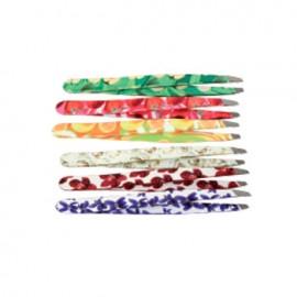 Pinzetta di precisione con fantasie di fiori e frutta 6 pezzi per confezione.