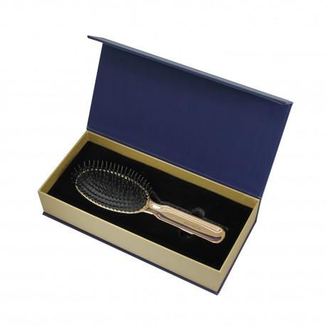 Spazzola oro in scatola regalo. Pneumatica con picchi in plastica
